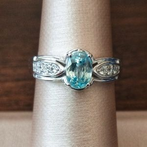 Blue & White Zircon Ring